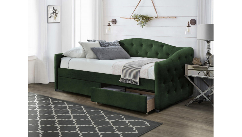 ALOHA Miegamojo lova 90 x 200 cm tamsiai žalia velvetas