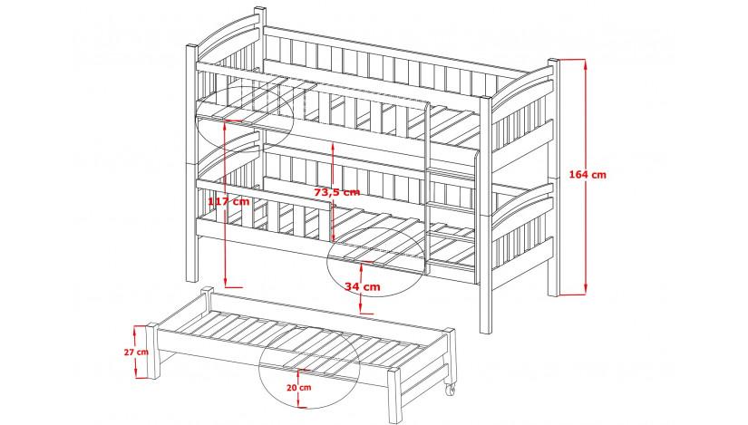 ANATOL Trivietė lova 80 x 180/170 cm