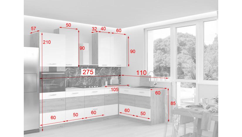 Artisan Raudona 445 Virtuvės baldų komplektas Kampinis