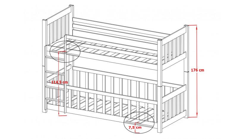 CRIS Dviaukštė lova 80 x 200 cm