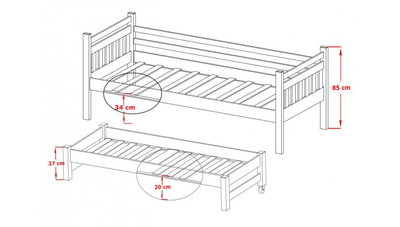 DANIEL Dvigulė lova 80 x 200/190 cm