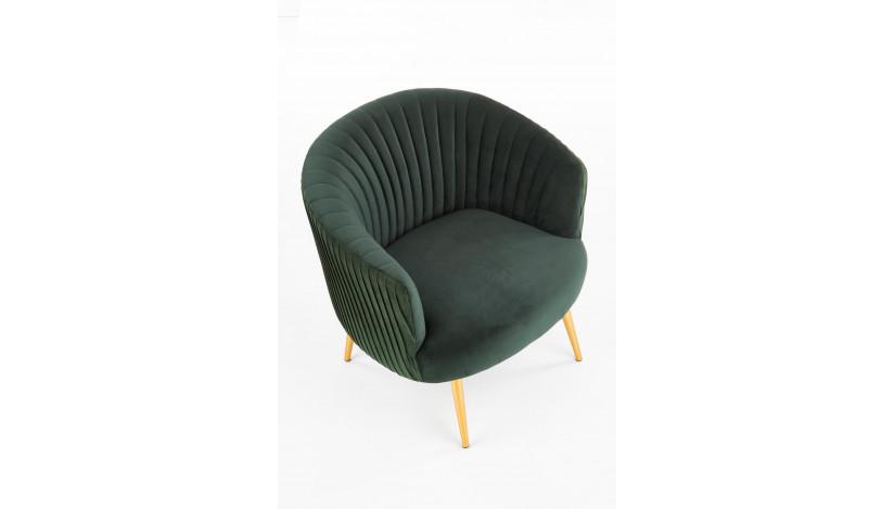 CROWN Fotelis tamsiai žalia / auksinė