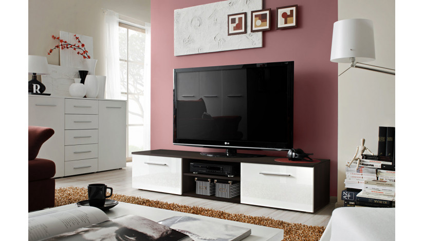 Bono II TV staliukas venge matinė / balta blizgi