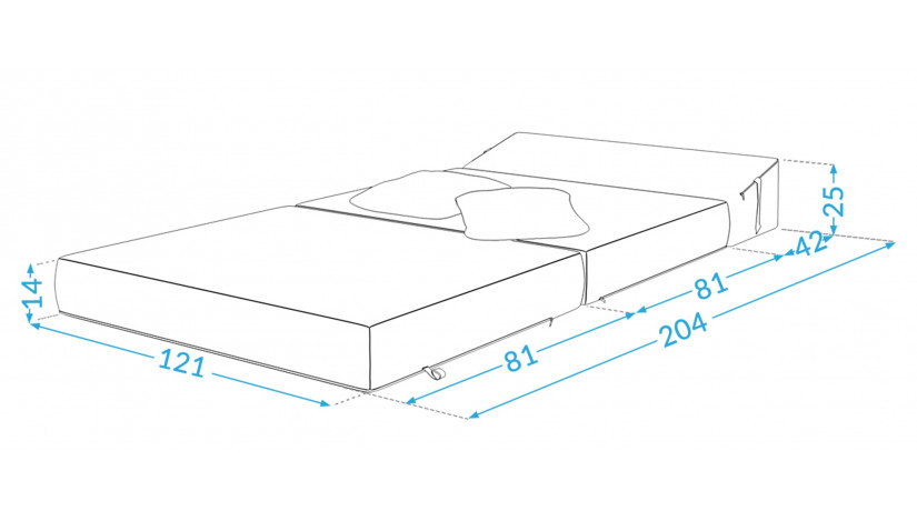 ALEX sofa čiužinys 121 cm juoda 15
