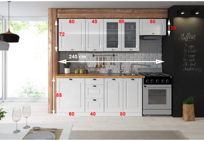 Antilla 240 cm virtuvės Baldų Komplektas