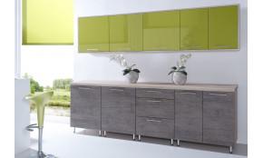 Virtuvės baldų komplektas COSTA MDF 260 cm alyvuogė / šokoladas