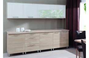 Virtuvės baldų komplektas COSTA MDF 260 cm sonoma / balta