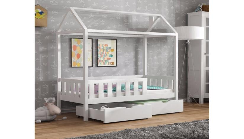 Domi lova namelis 80 x 180 Balta su stalčiais