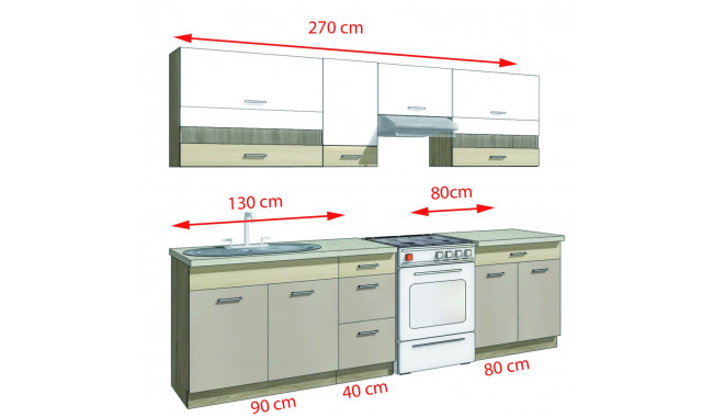 Premio B ( 270 cm ) Virtuvės baldų komplektas