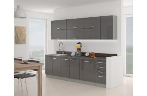 Grey MDF 260 cm Virtuvės baldų komplektas