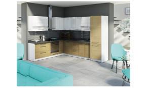 Virtuvės baldų komplektas Creativa kampinis (ąžuolas stone)
