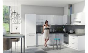 Virtuvės baldų komplektas Creativa kampinis (balta blizgi)