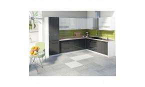 Virtuvės baldų komplektas Creativa (balta + pilka blizgi)