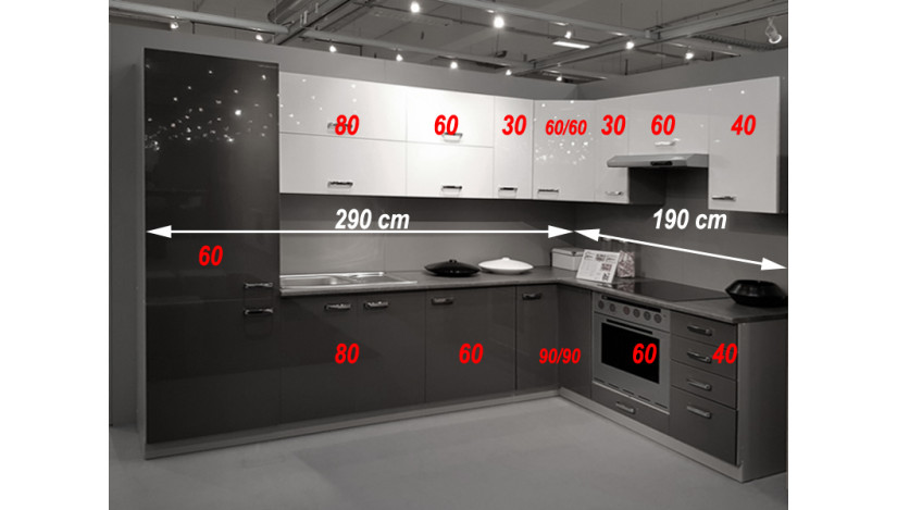 Bianka / Grey 480 Virtuvės baldų komplektas