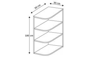 30 pakabinama kampinė lentyna, aukštis 100 cm, Premium Line WPO/100 P/L/