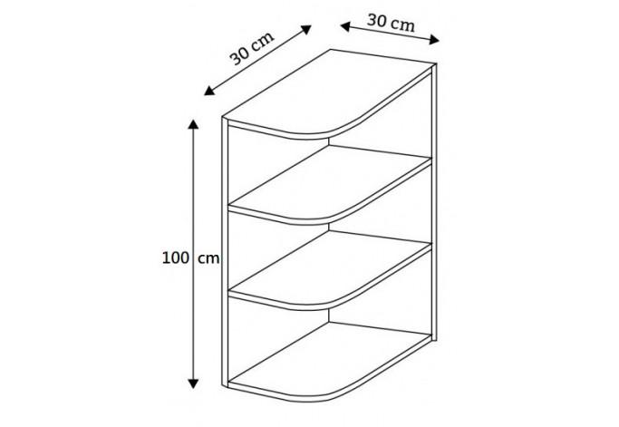 30 pakabinama kampinė lentyna, aukštis 100 cm, Premium Line