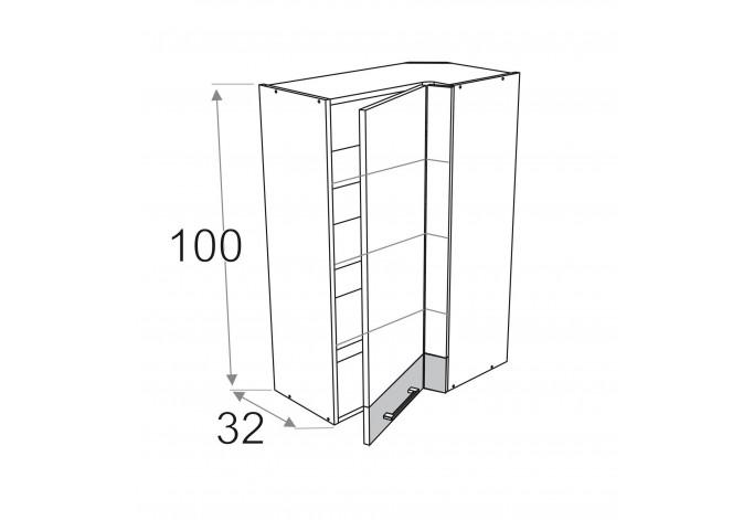 70x40 cm pakabinama kampinė spintelė, aukštis 100 cm, Premium Line
